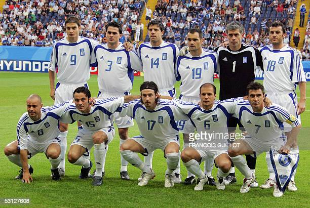 Greek players pose prior to the Confederations cup football match Greece vs Mexico 22 June 2005 at the Frankfurt stadium midfielder Stylianos...