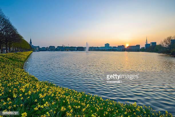 Germany, Hamburg, Binnenalster at sunset