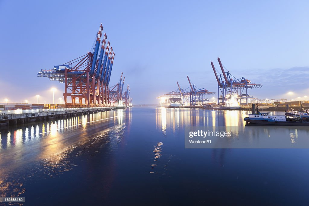 Germany, Hamburg, Burchardkai, View of container ship at harbour