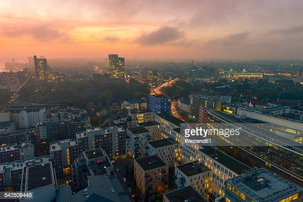 Germany, Hamburg, Cityscape at sunset