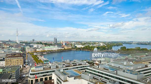 Germany, Hamburg, cityscape with Inner and Outer Alster Lake