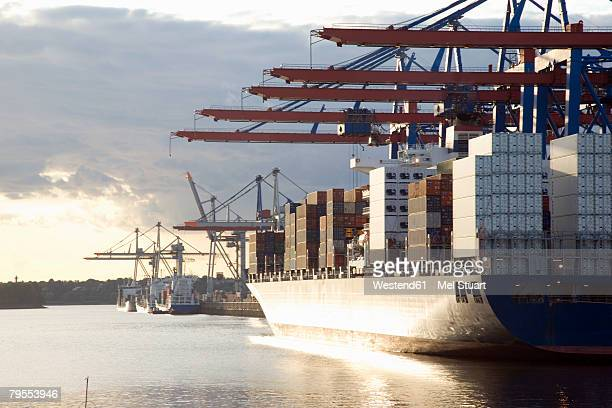 Germany, Hamburg, container ship in Waltershofer Hafen at Burchardkai