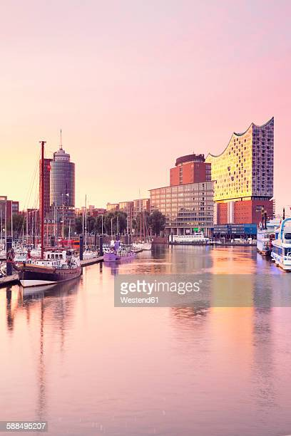 Germany, Hamburg, Elbphilharmonie and harbor in morning light