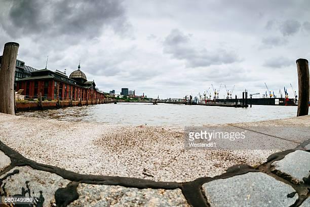 Germany, Hamburg, fish market hall and port entrance, fisheye