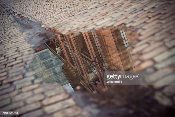 Germany, Hamburg, fish market hall, water reflection in a puddle