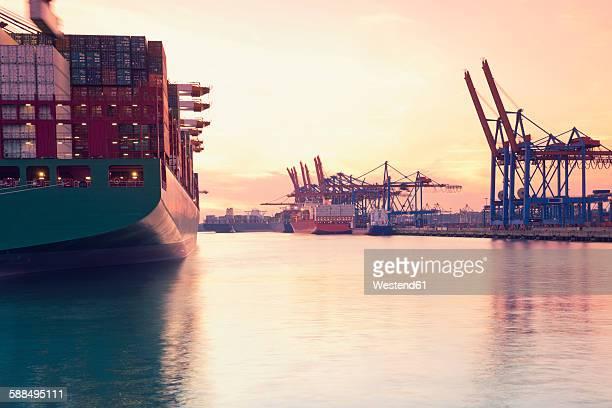 Germany, Hamburg, freight ships at Waltershofer harbour