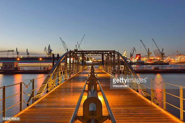 Germany, Hamburg, Harbor, Landing stage in the evening