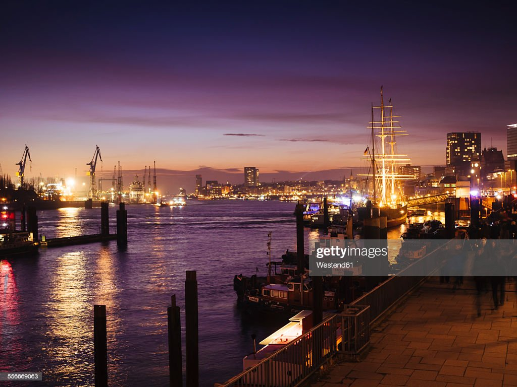 Germany, Hamburg, harbour and view of St. Pauli at night