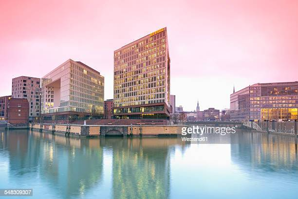 Germany, Hamburg, High-rise office building Ericusspitze, Publishing house Der Spiegel, Brooktorkai in the evening