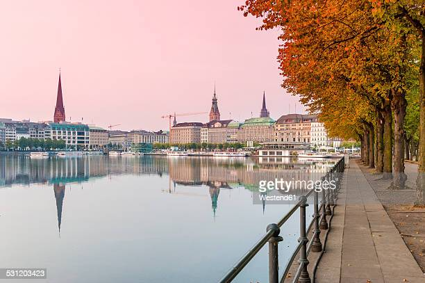 Germany, Hamburg, Inner Alster lake, afterglow