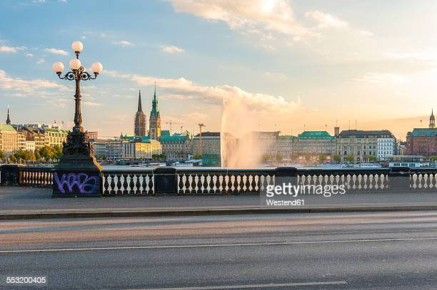 Germany, Hamburg, Inner Alster Lake, view from the Lombard bridge in evening light