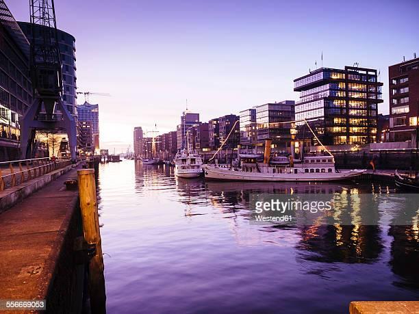 Germany, Hamburg, Magellan Terraces at the Harbour city at dusk
