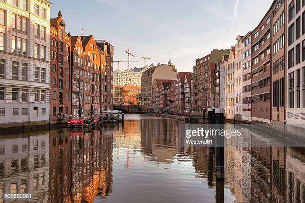 Germany, Hamburg, Nikolaifleet at sunset