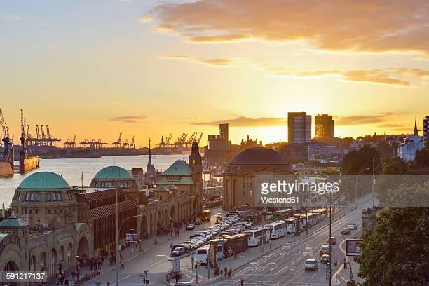 Germany, Hamburg, Port of Hamburg and St. Pauli Landing Stages at sunset