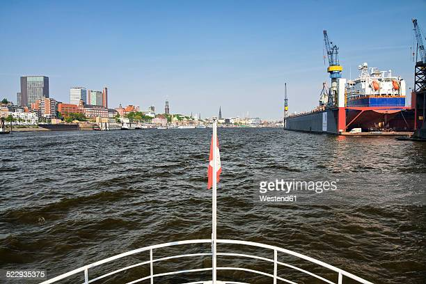 Germany, Hamburg, Port of Hamburg, View from an excursion boat on the Elbe river
