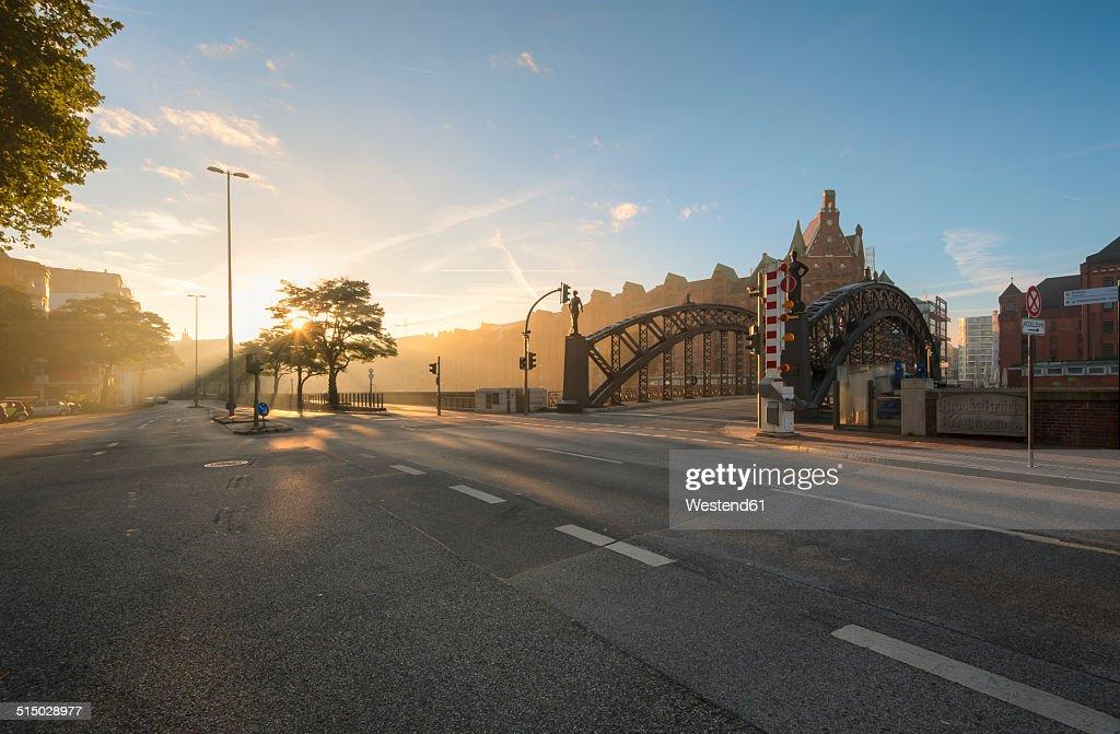 Germany, Hamburg, Speicherstadt at sunrise
