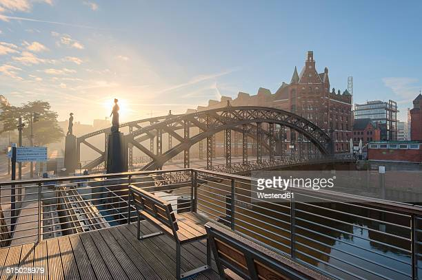 Germany, Hamburg, Speicherstadt at sunrise