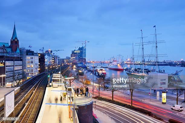 Germany, Hamburg, subway station Landungsbruecken at blue hour