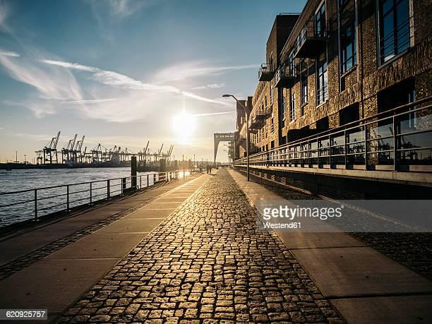 Germany, Hamburg, Sunset on harbour