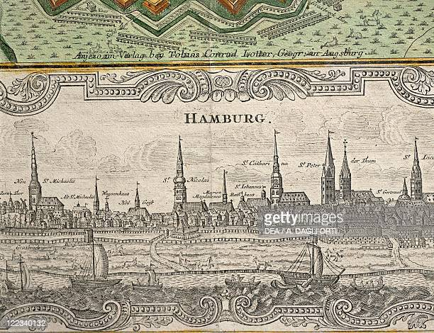 Germany Hamburg View of the city engraving