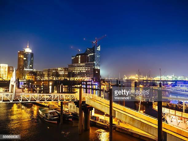 Germany, Hamburg, View of the Elbe Philharmonic Hall at dusk
