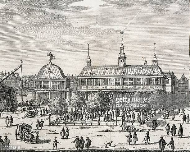 Germany Hamburg View of the main square engraving