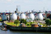 Germany, Hamurg, digestion tanks of water treatment plant Koehlbrandhoeft at River Elbe