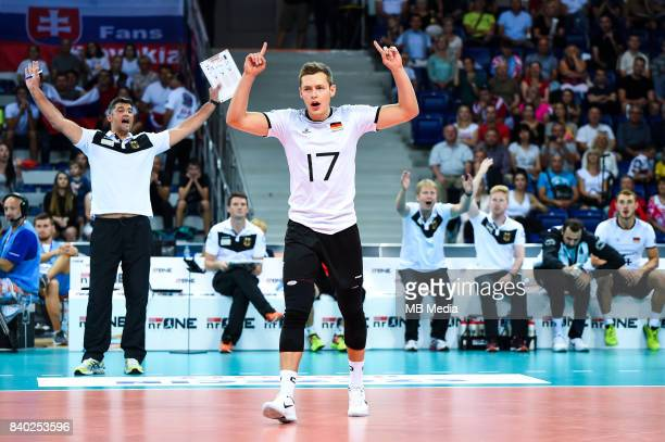 Germany head coach Andrea Giani and Jan Zimmermann of Germany during the European Men's Volleyball Championships 2017 match between Slovakia and...