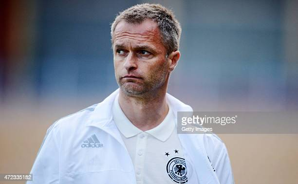 Germany Head Coach Christian Wuck looks on prior the UEFA European Under17 Championship Final tournament Group B match on May 6 2015 in Burgas...