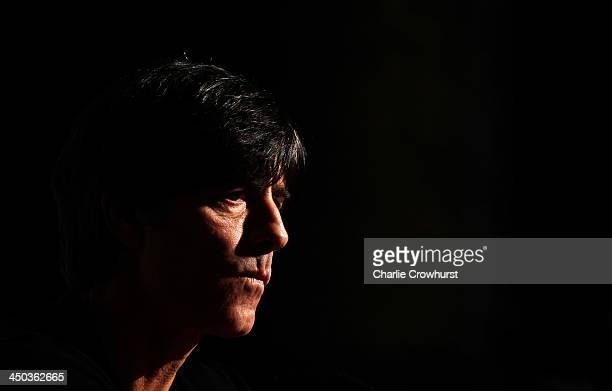 Germany head coach Joachim Loew faces the media during a press conference at The Royal Horseguard hotel ahead of their International Friendly with...