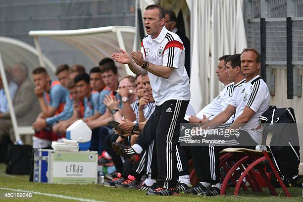 Germany head coach Stefan Bocer reacts during the International Friendly match between U16 France and U16 Germany at Stade Perruc on June 4 2014 in...