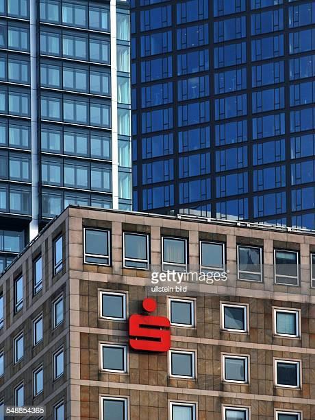 Germany Hesse Frankfurt am Main Financial district Savings Bank logo between skyscrapers
