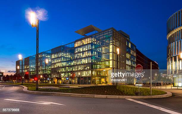 Germany, Hesse, Frankfurt, European Quarter, Bank BNP Paribas in the evening