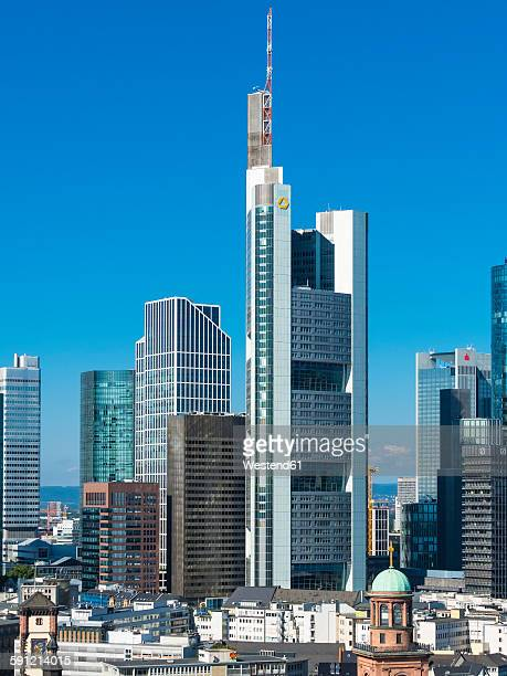 Germany, Hesse, Frankfurt, Financial district, Commerzbank Tower and Opera Tower