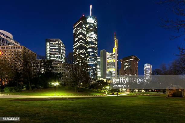 Germany, Hesse, Frankfurt, Financial district, Helaba, Commerzbank, Japan Tower and European Central Bank , ECB, at night