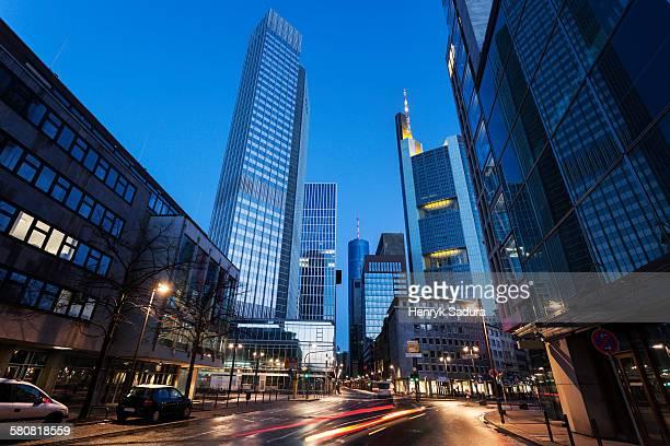 Germany, Hesse, Frankfurt, Illuminated city street with skyscrapers