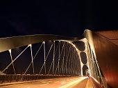Germany, Hesse, Frankfurt, New Osthafenbruecke at night