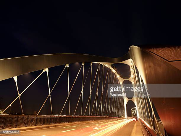 Germany, Hesse, Frankfurt, New Osthafenbruecke at night