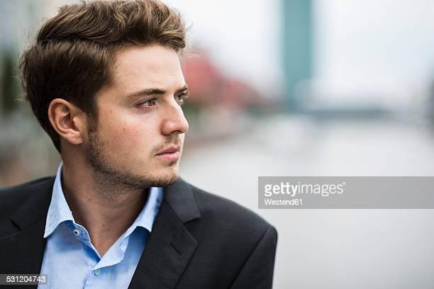 Germany, Hesse, Frankfurt, portrait of pensive young man