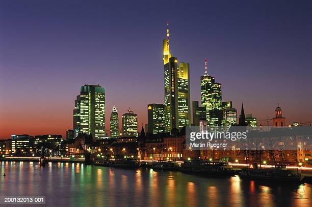 Germany, Hesse, Frankfurt skyline, view across River Main at night