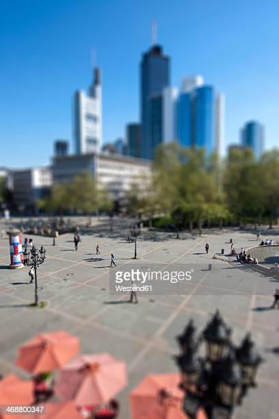 Germany, Hesse, Frankfurt, Tilt-shift view of Opera Square