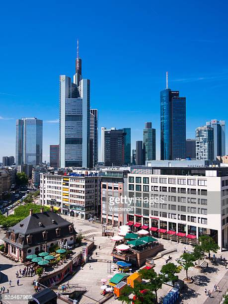 Germany, Hesse, Frankfurt, View to financial district with Commerzbank tower, European Central Bank, Helaba, Taunusturm and Hauptwache