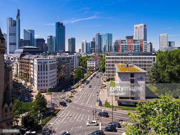 Germany, Hesse, Frankfurt, View to financial district with Commerzbank tower, , Taunusturm, Japan Tower, Helaba, Westend Tower, Deutsche Bank and Opera Tower