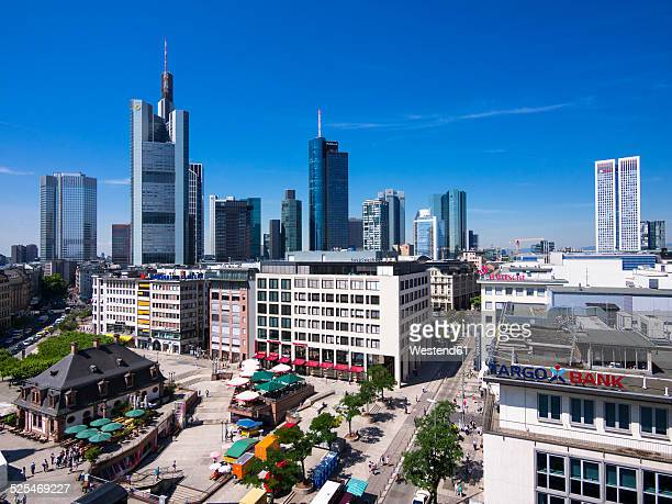Germany, Hesse, Frankfurt, View to financial district with Commerzbank tower, European Central Bank, Helaba, Taunusturm, Opera Tower and Hauptwache