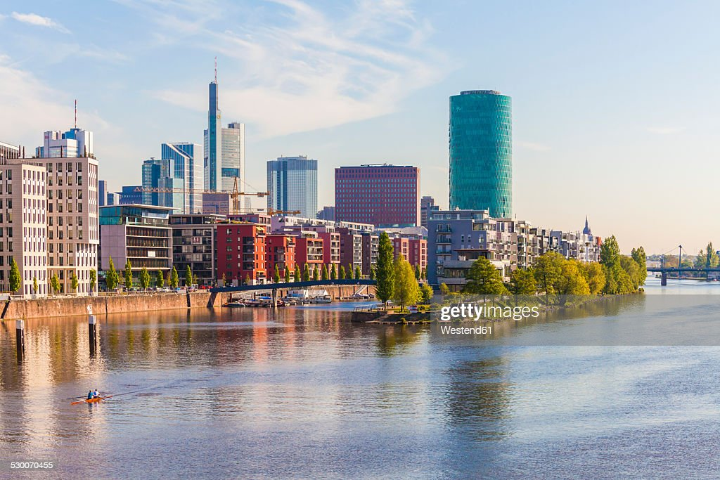Germany, Hesse, Frankfurt, view to Main River and high-rise buildings in the background