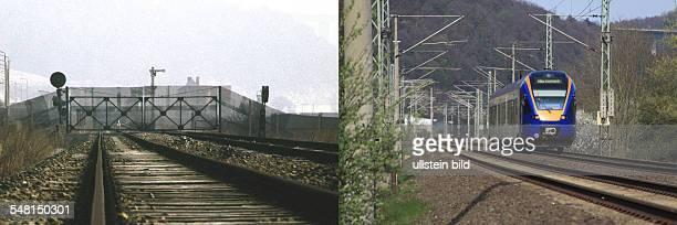 the iron curtain former railway line near Wartha and Herleshausen 1984 right regional train at the railway line near Wartha and Herleshausen former...