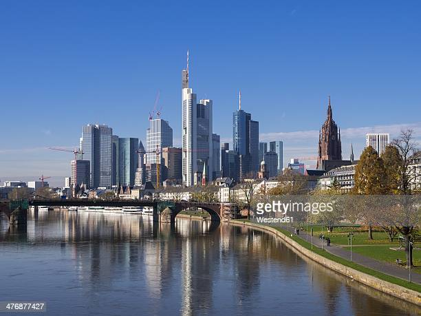 Germany, Hesse, Skyline of Frankfurt with River Main