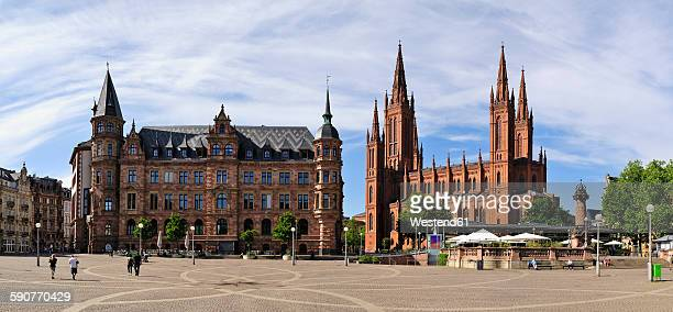 Germany, Hesse, Wiesbaden, Market church and new town hall left