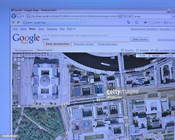 Homepage Website of google maps aerial view of the government district in Berlin