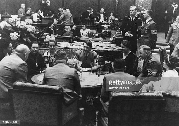 Germany Kingdom Bavaria Munich Reception at the 'Fuehrer Building' at the Koenigsplatz in Munich Adolf Hitler talking to his guests 1937 Photographer...